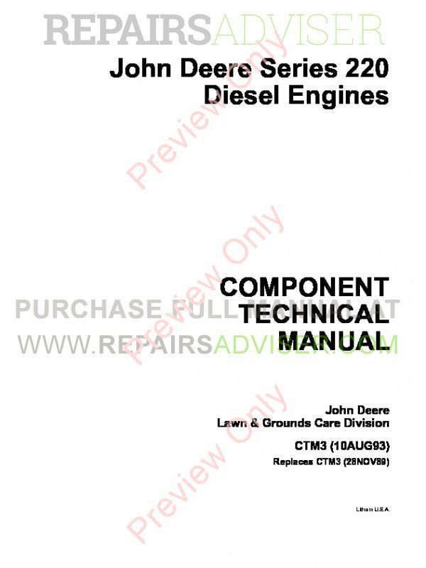 John Deere Series 220 Diesel Engines CTM3 Component Technical Manual PDF image #1