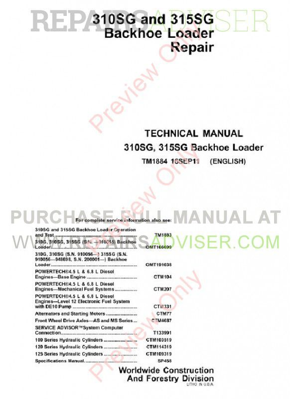 John Deere 310SG & 315SG Backhoe Loader Technical Manual TM-1884 PDF image #1