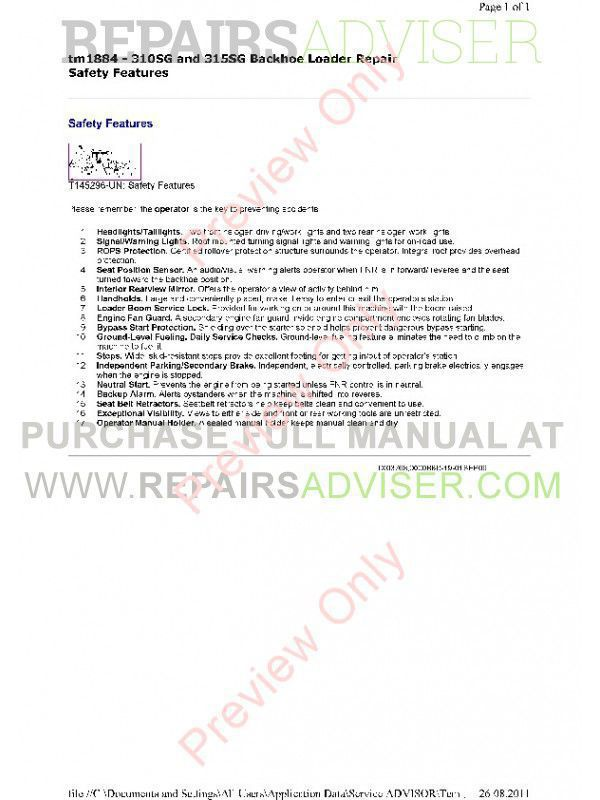 John Deere 310SG & 315SG Backhoe Loader Technical Manual TM-1884 PDF, John Deere Manuals by www.repairsadviser.com