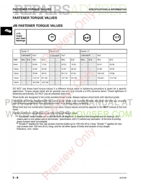Ohn Deere 4500  4600  4700 Compact Utility Tractors Technical Manual