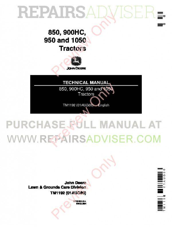 John Deere 850, 900HC, 950 and 1050 Tractors Technical Manual TM-1192 PDF image #1