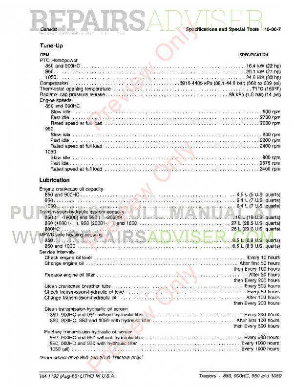 John Deere 850, 900HC, 950 and 1050 Tractors Technical Manual TM-1192 PDF, John Deere Manuals by www.repairsadviser.com
