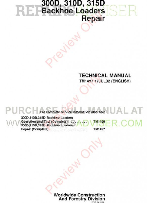 John Deere 300D 310D 315D Backhoe Loaders Repair Technical Manual TM-1497 PDF image #1