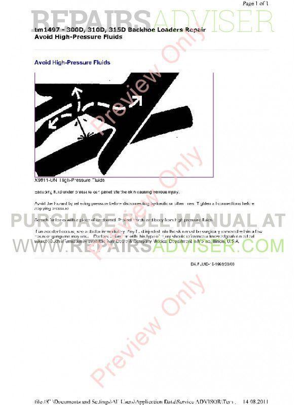 John Deere 300D 310D 315D Backhoe Loaders Repair Technical Manual TM-1497 PDF, John Deere Manuals by www.repairsadviser.com