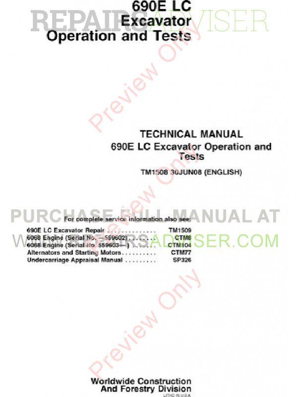 John Deere 690E LC Excavator Operation & Tests Technical Manual TM-1508 PDF