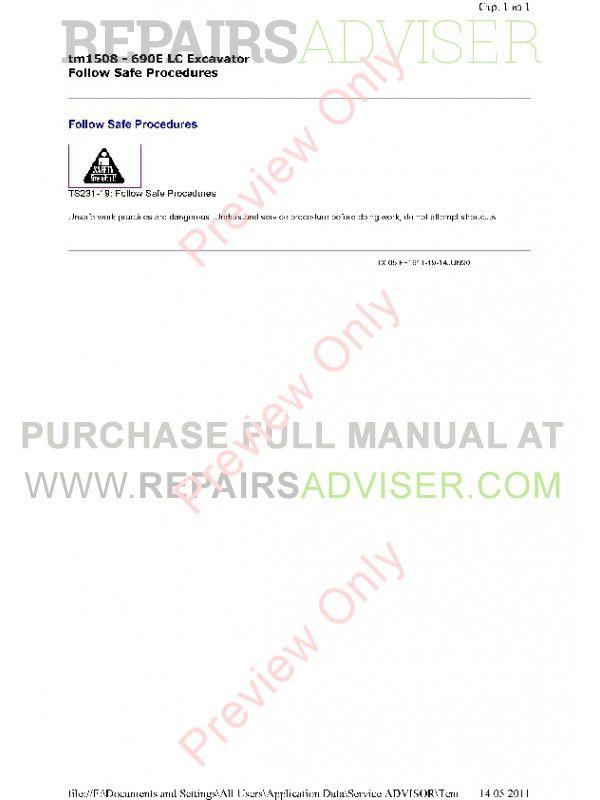 John Deere 690E LC Excavator Operation & Tests Technical Manual TM-1508 PDF, John Deere Manuals by www.repairsadviser.com