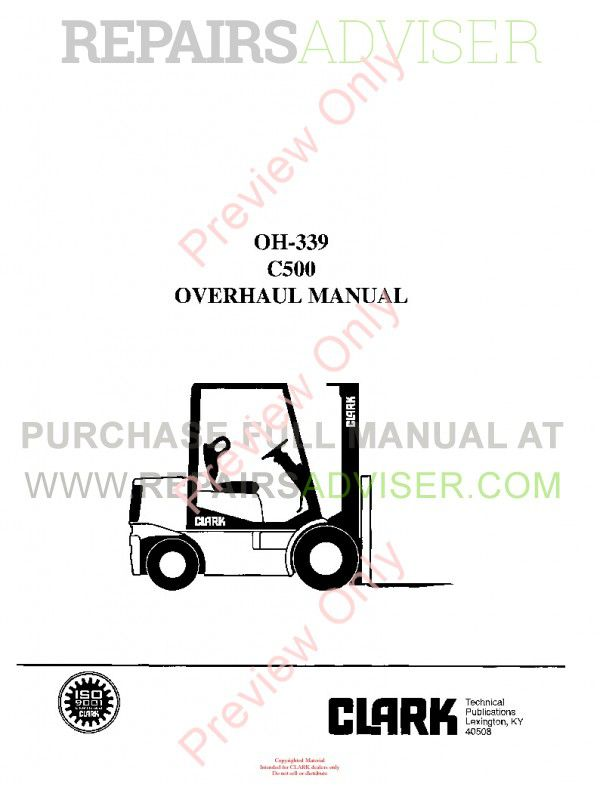Clark C500 Forklift OH-339 Overhaul Manual PDF image #1