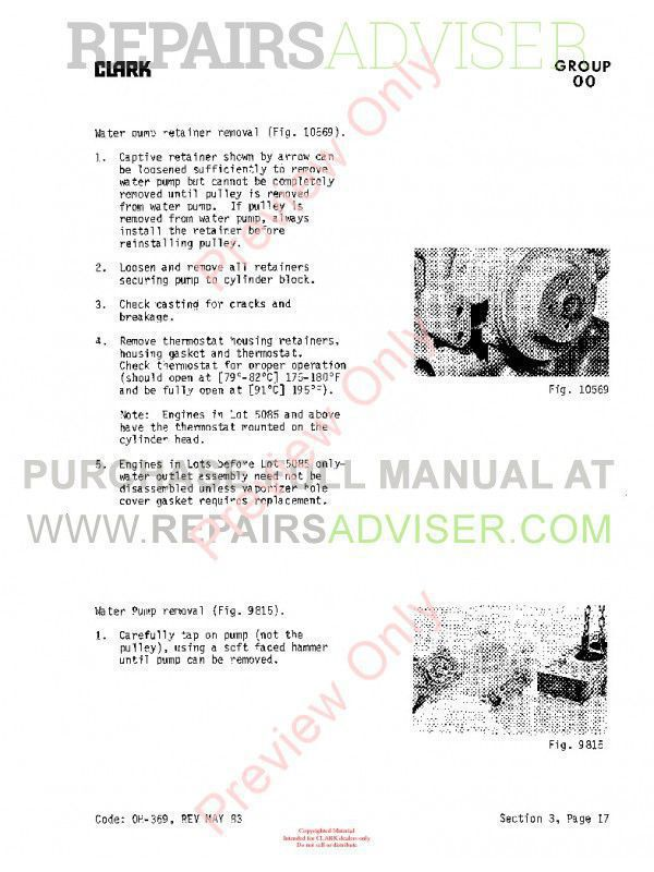 Clark C500 Forklift OH-339 Overhaul Manual PDF, Clark Manuals by www.repairsadviser.com