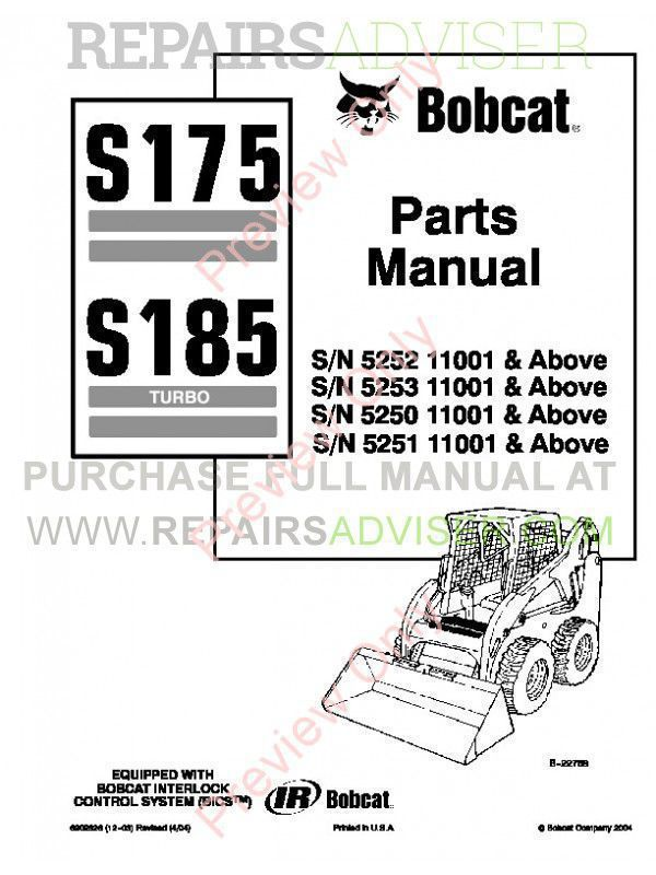 Bobcat S175 S185 Turbo Skid Steer Loader Parts Manual Pdf on john deere 185 parts diagram