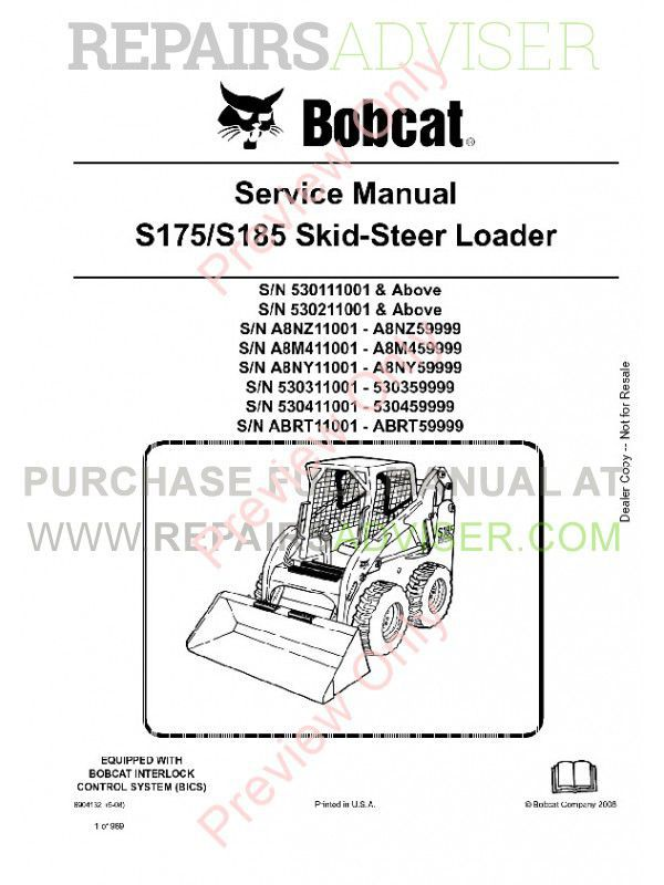 Bobcat S175, S185 Skid Steer Loader Service Manual PDF
