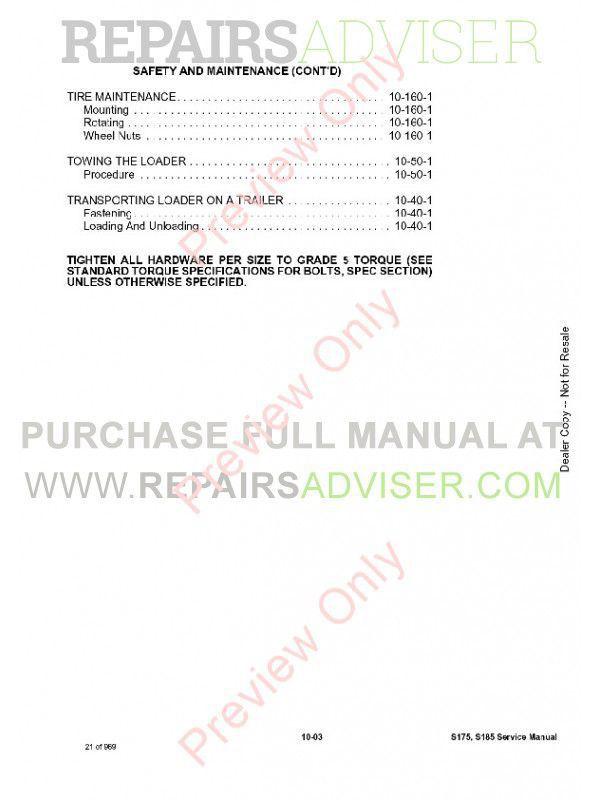 Bobcat S175, S185 Skid Steer Loader Service Manual PDF, Bobcat Manuals by www.repairsadviser.com