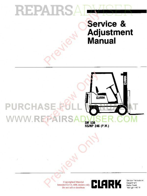 Clark NS/NP 246 (P.M.) SM 538 Service Adjustment Manual PDF image #1