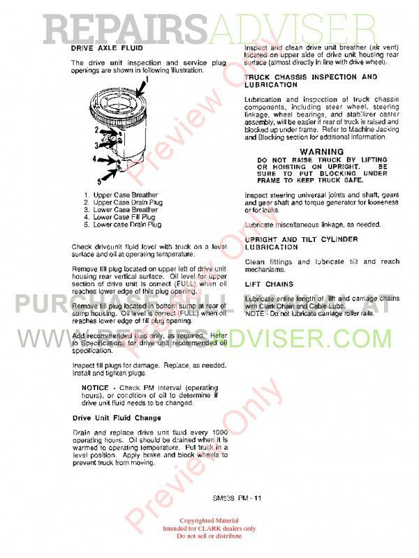 Clark NS/NP 246 (P.M.) SM 538 Service Adjustment Manual PDF, Clark Manuals by www.repairsadviser.com