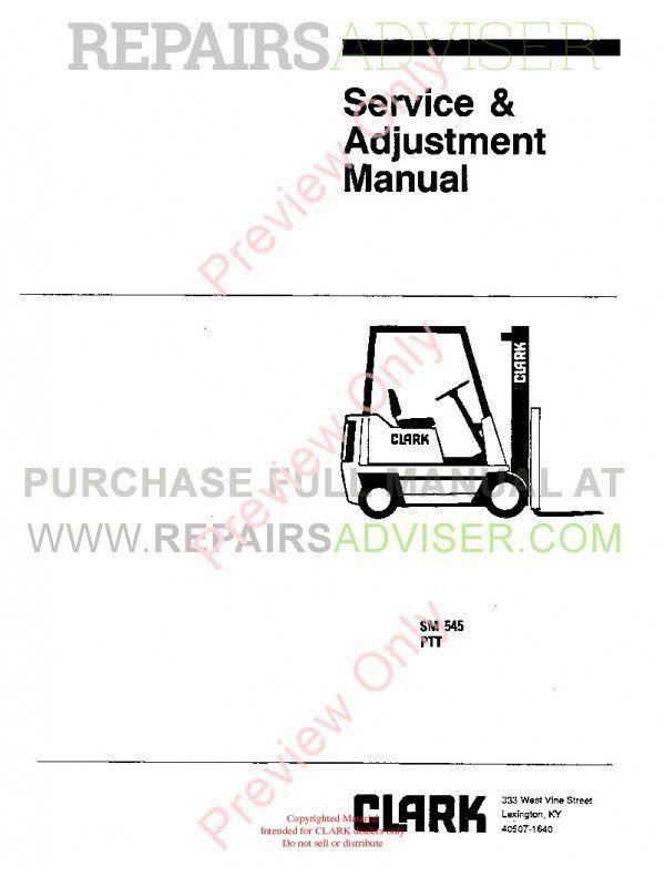 Clark PTT 5/7 Forklifts SM 545 Service Manual PDF image #1