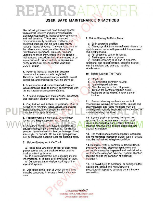 Clark PTT 5/7 Forklifts SM 545 Service Manual PDF, Clark Manuals by www.repairsadviser.com