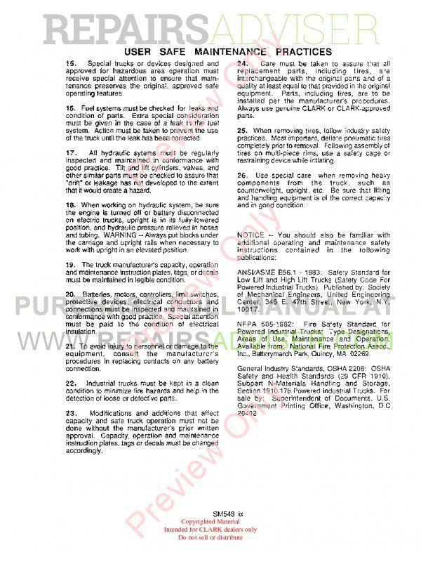 Clark ECS 17-30 Hi Performance Supplement SM-548H Service Manual PDF, Clark Manuals by www.repairsadviser.com