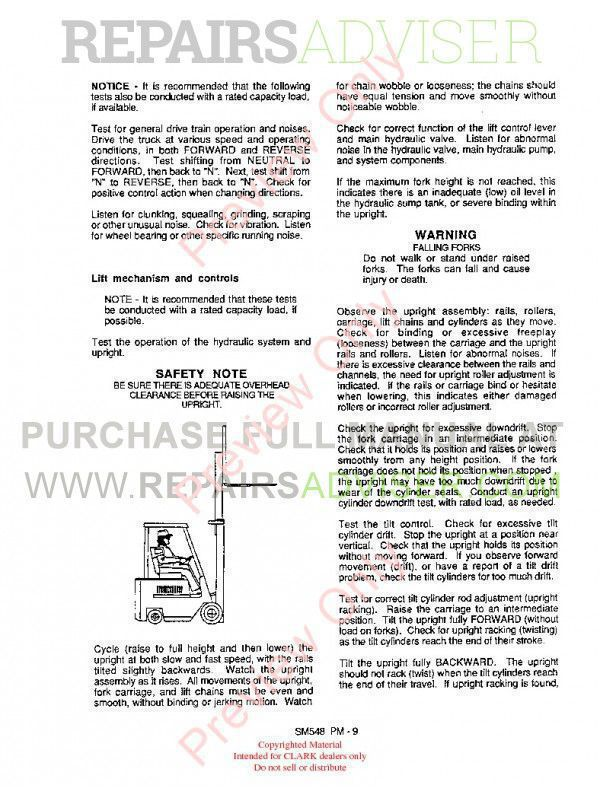 Clark ECS 17-30 Hi Performance Supplement SM-548H Service Manual PDF, Clark Manuals by www.repairsadviser.com