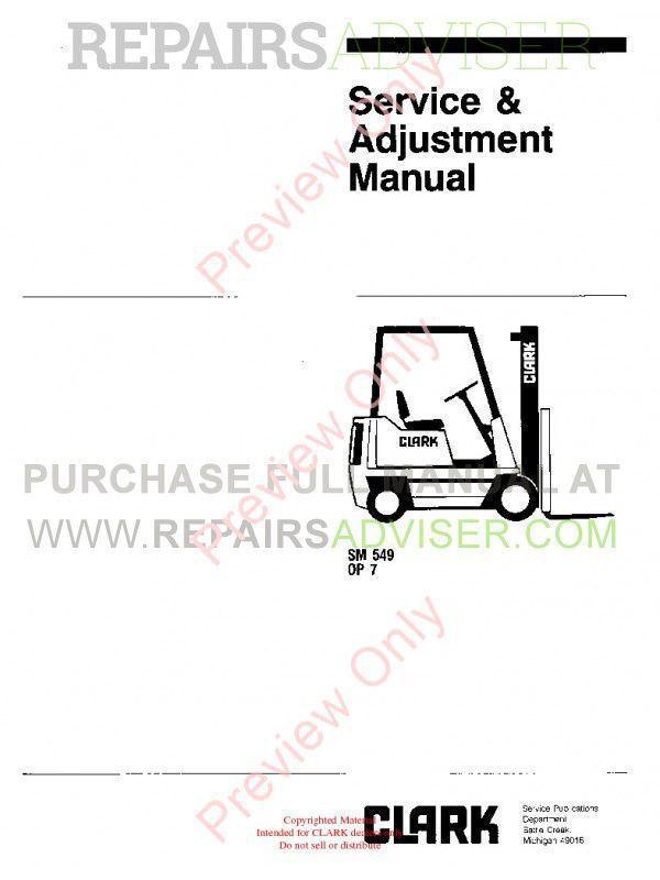 Clark OP 7 Forklifts SM 549 Service Adjustment Manual PDF image #1