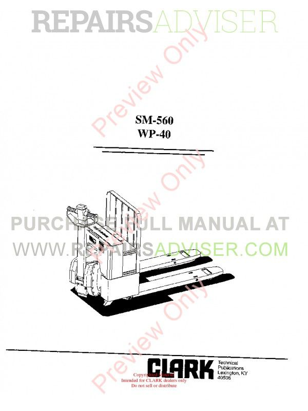 Clark WP-40 Forklifts SM-560 Service Manual PDF image #1