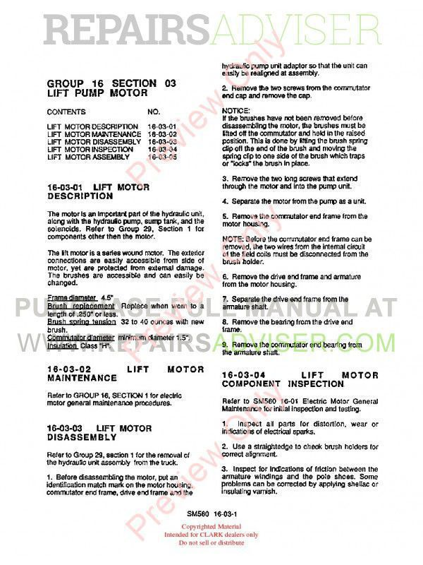 Clark WP-40 Forklifts SM-560 Service Manual PDF, Clark Manuals by www.repairsadviser.com