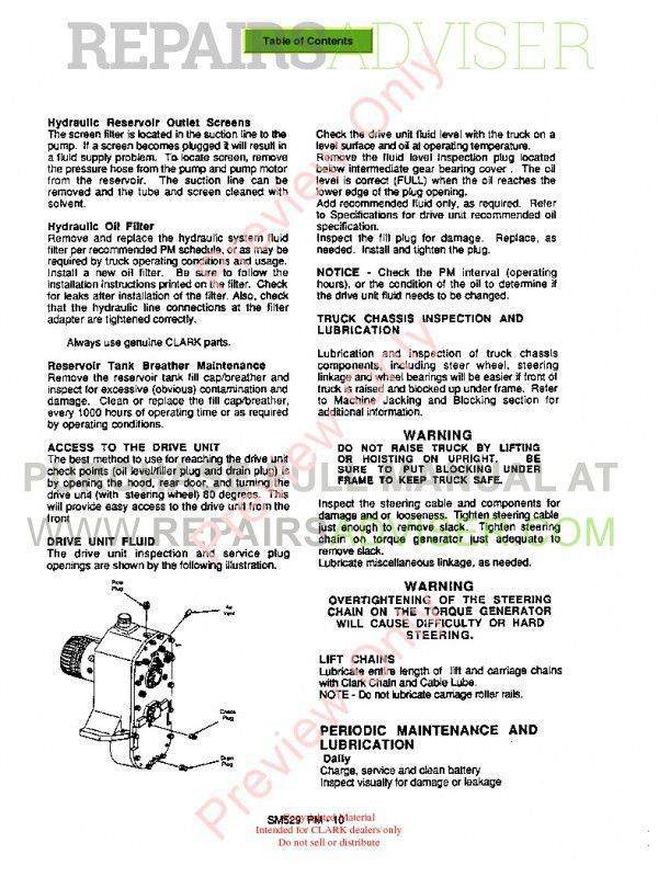 Clark OP15 Lift Trucks SM566 Service Manual PDF,  by www.repairsadviser.com