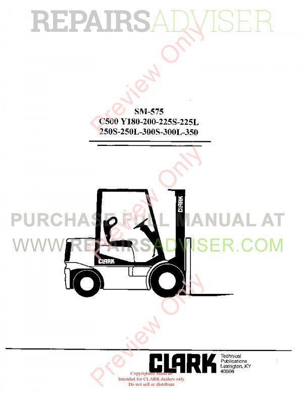 Clark C500 Y180-200-225S-225L-250S-250L-300S-300L-350 SM-575 Service Manual PDF image #1