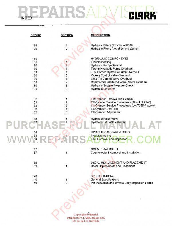 Clark C500 Y180-200-225S-225L-250S-250L-300S-300L-350 SM-575 Service Manual PDF, Clark Manuals by www.repairsadviser.com