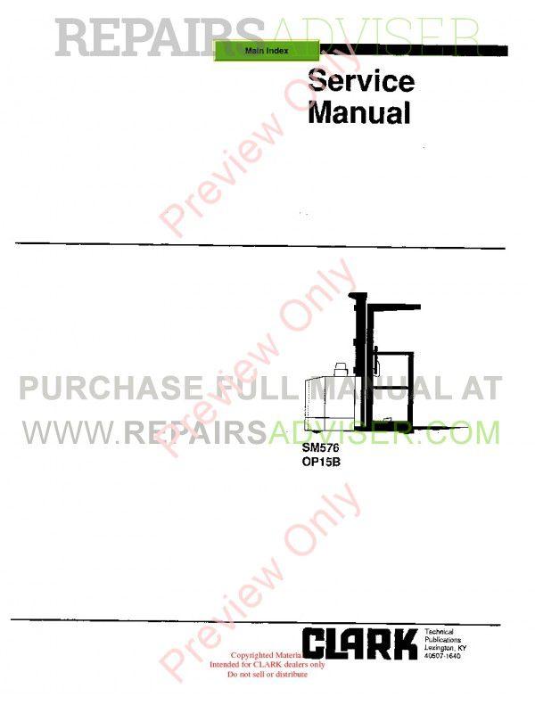 Clark OP15B Forklift SM576 Service Manual PDF image #1
