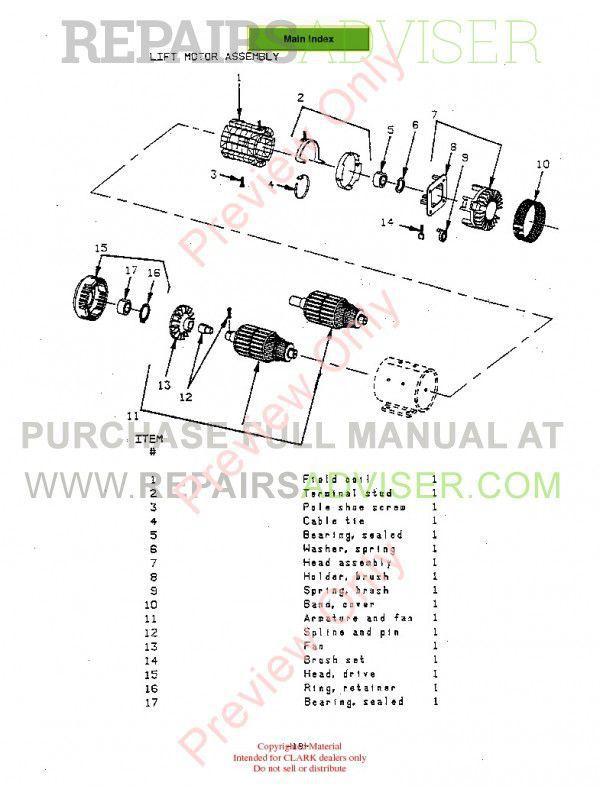 Clark OP15B Forklift SM576 Service Manual PDF, Clark Manuals by www.repairsadviser.com
