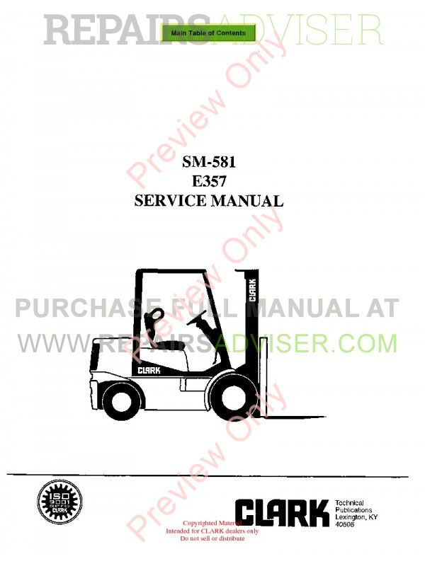 Clark E357 Lift Trucks SM-581 Service Manual PDF, Clark Manuals by www.repairsadviser.com