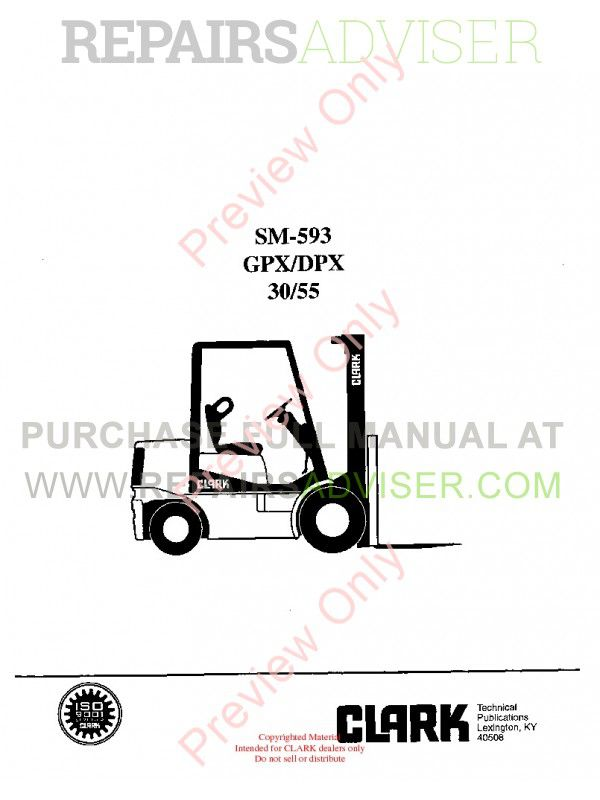 Clark GPX/DPX 30/55 Lift Trucks SM-593 Service Manual PDF image #1