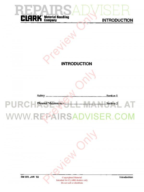 Clark GPX/DPX 30/55 Lift Trucks SM-593 Service Manual PDF, Clark Manuals by www.repairsadviser.com