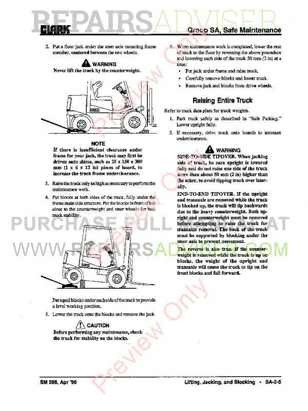Clark CGC, CGP, CDP 20-30 Lift Trucks SM-598S Shop Manual PDF, Clark Manuals by www.repairsadviser.com