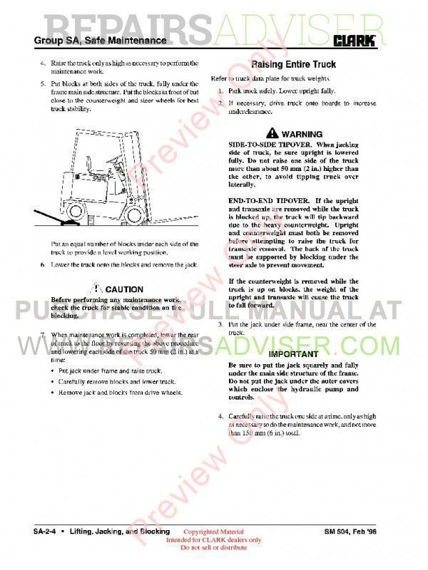 Clark EC500 60/80B Lift Trucks SM-604 Service Manual PDF, Clark Manuals by www.repairsadviser.com