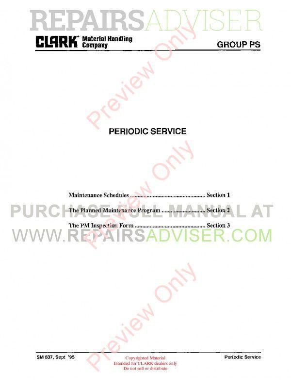 Clark DT 30E-50E-60E Diesel Towing Tractors SM 607D Service Manual PDF, Clark Manuals by www.repairsadviser.com