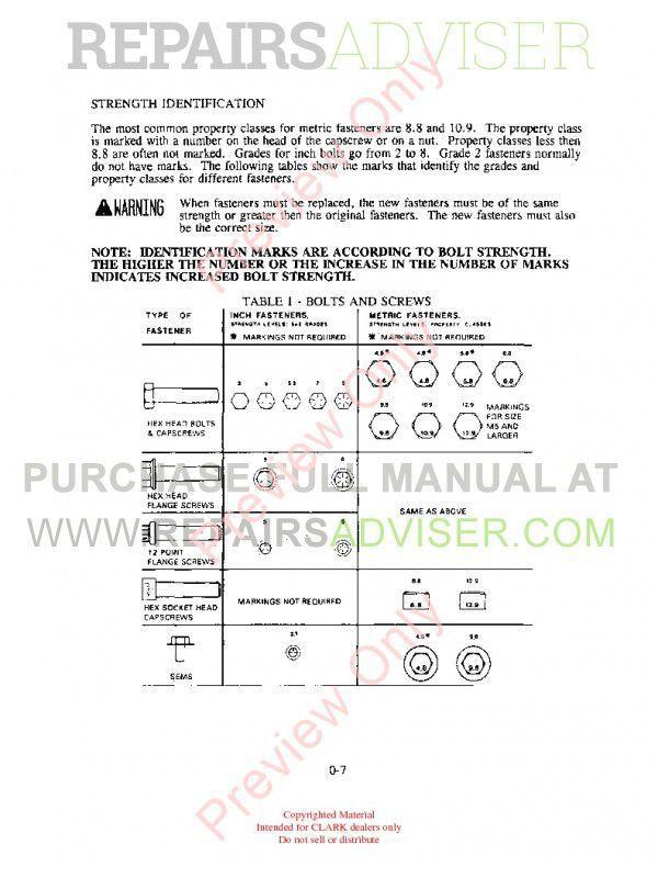 Clark WP 40 Lift Trucks SM 611 Service Manual PDF, Clark Manuals by www.repairsadviser.com