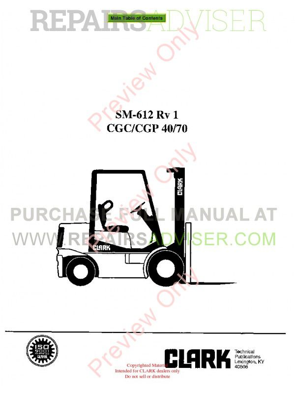 Clark CGC/CGP 40/70 Rv1 Lift Trucks SM-612 Service Manual PDF, Clark Manuals by www.repairsadviser.com