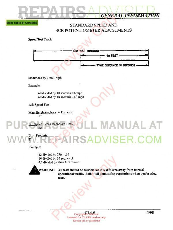 Clark PWC30, PWT7 Lift Trucks SM-614 Service Manual PDF, Clark Manuals by www.repairsadviser.com