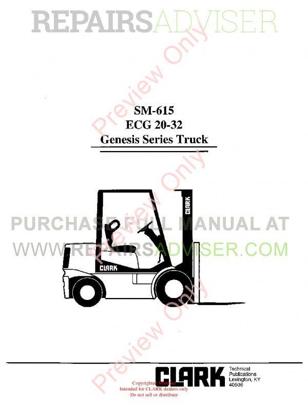 Clark ECG 20-32 Genesis Series Truck SM-615 Service Manual PDF, Clark Manuals by www.repairsadviser.com