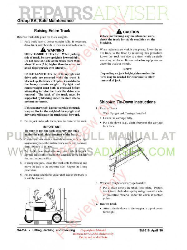 Clark TMG 12-25, TMG 13-20X, EPG 15-18 Lift Trucks SM-616 Service Manual PDF, Clark Manuals by www.repairsadviser.com