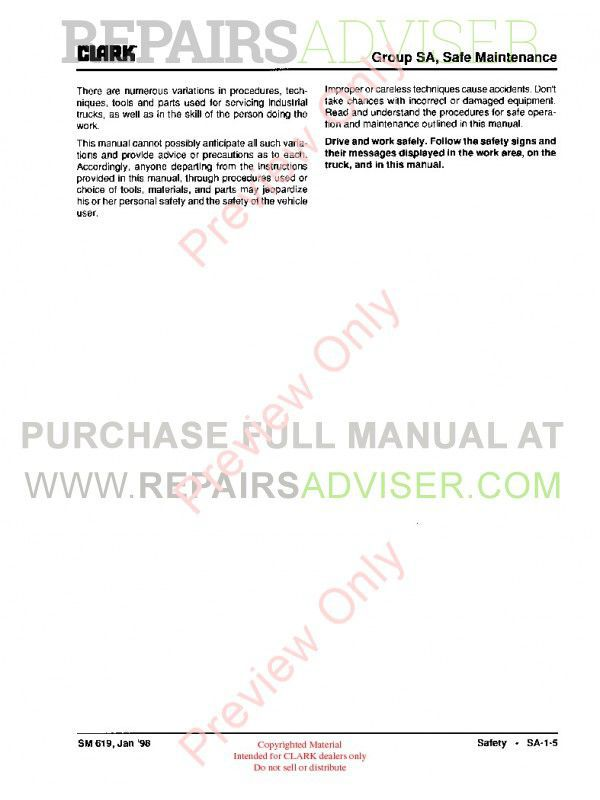 Clark G127, GP127, G127E, GP127E Lift Trucks SM-619 Service Manual PDF, Clark Manuals by www.repairsadviser.com