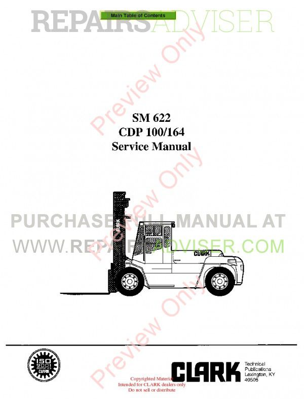 Clark CDP 100/164 Lift Trucks SM 622 Service Manual PDF image #1