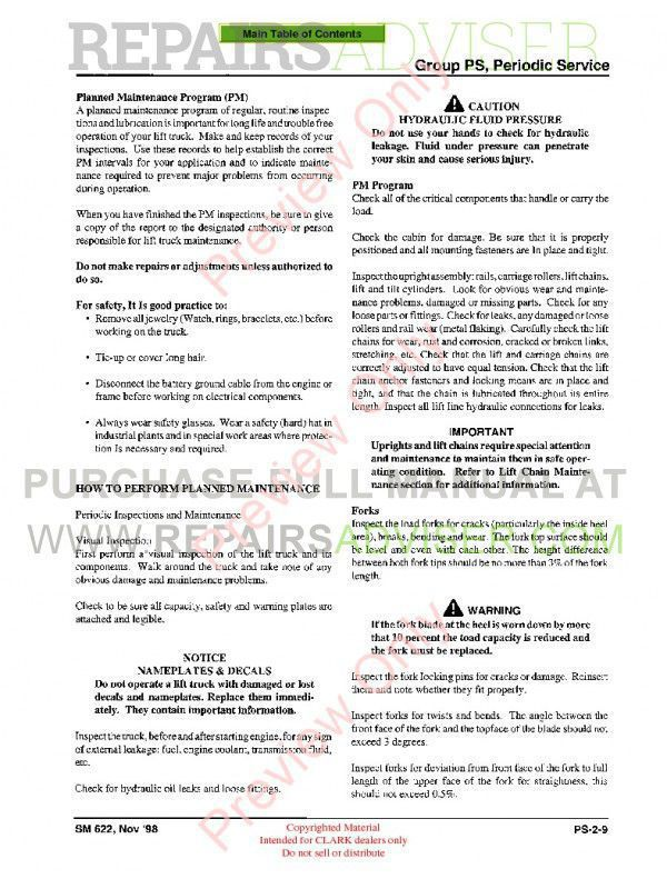 Clark CDP 100/164 Lift Trucks SM 622 Service Manual PDF, Clark Manuals by www.repairsadviser.com