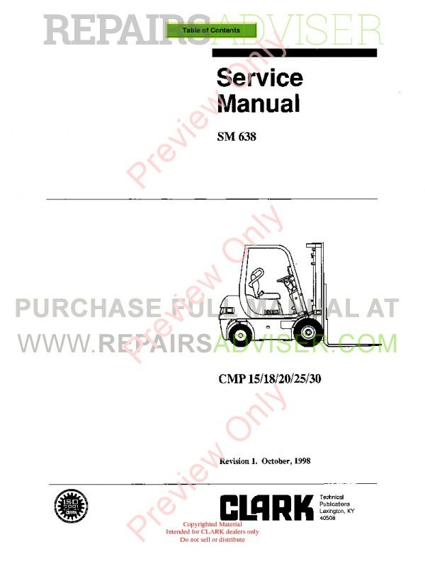 Clark CMP 15/18/20/25/30 Lift Trucks SM 638 Service Manual PDF image #1