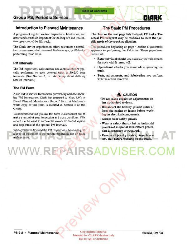 Clark CMP 15/18/20/25/30 Lift Trucks SM 638 Service Manual PDF, Clark Manuals by www.repairsadviser.com