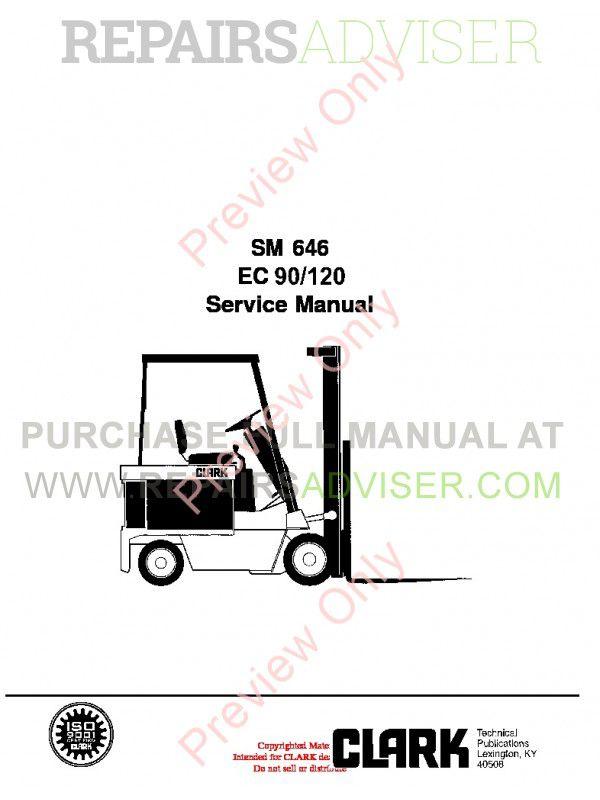Clark EC 90/120 Lift Truck SM 646 Service Manual PDF image #1