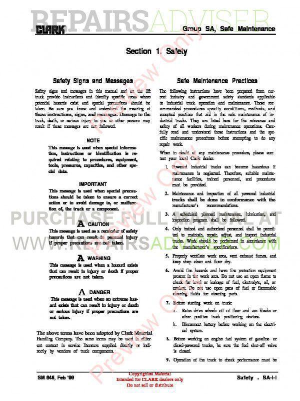 Clark EC 90/120 Lift Truck SM 646 Service Manual PDF, Clark Manuals by www.repairsadviser.com