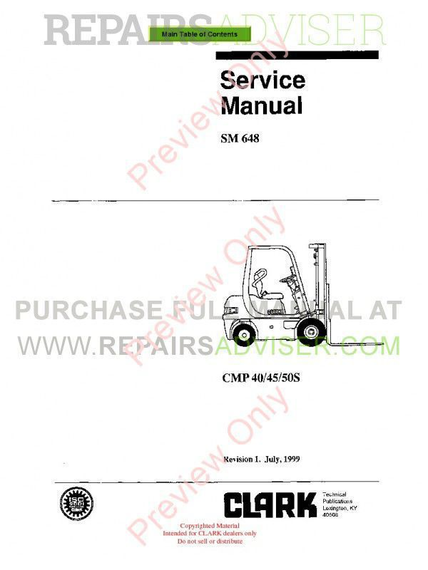 Clark CMP 40/45/50S Lift Trucks SM 648 Service Manual PDF image #1