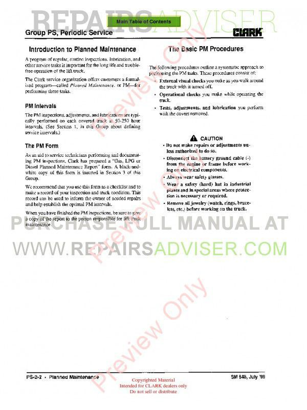 Clark CMP 40/45/50S Lift Trucks SM 648 Service Manual PDF, Clark Manuals by www.repairsadviser.com
