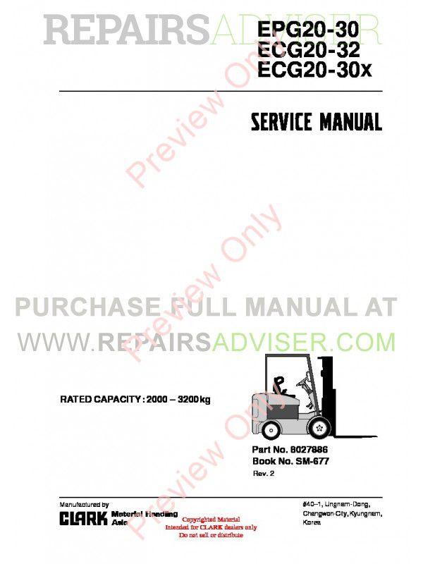 Clark EPG20-30, ECG20-32, ECG20-30X SM-677 Service Manual PDF image #1